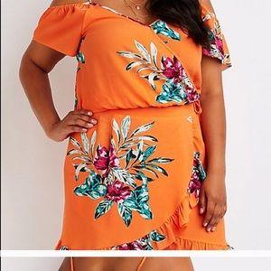 Orange crop top with skirt